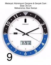 Duvar Saati Dijital Termometre Ve Takvim Sesiz Akar Saniye