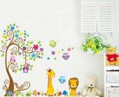 Baykuş Aslan Zürafa Ağaç Duvar Resmi Xxl Ev Anaokulu Dekor Çıkart