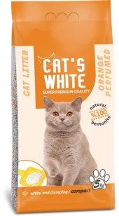Cats White Portakal Kokulu Topaklaşan Doğal Bentonit Kedi Kumu 6