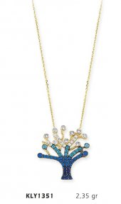14 Ayar Altın Mavi Hayat Ağacı Kolye Kly1351