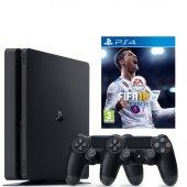 Sony Ps4 Slim 500gb Oyun Konsolu + 2. Ps4 Kol + Ps4 Fifa 18 Tr