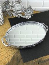 Gümüş Dantelli Ayna Tepsi Oval