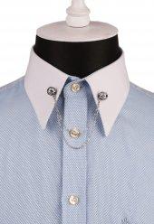 Bordo Taşlı Zincirli Gümüş Renk Gömlek Yaka İğnesi Gı136