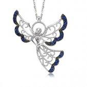 Mavi Taşlı Melek Kolye 925 Ayar Gümüş