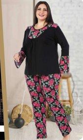 Lady Desenli Büyük Beden 2li Pijama Takımı