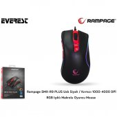 Everest Rampage Smx R9 Plus Usb Siyah Kırmızı 1000 4000dpi Rgb