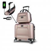My Valice Smart Bag Exclusive Usb Şarj Girişli 2li Valiz Seti (Pilot Ve Makyaj) Rose