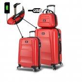 My Valice Smart Bag Exclusive Usb Şarj Girişli 3lü Valiz Seti (Kabin, Orta Ve Makyaj) Kırmızı