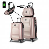 My Valice Smart Bag Exclusive Usb Şarj Girişli 3lü Valiz Seti (Kabin, Orta Ve Makyaj) Rose