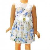 Himm Mavi Çiçekli Kız Çocuk Elbisesi 1 6 Yaş