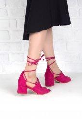 Maria Fuşya Süet Bilekten Bağlı Topuklu Bayan Ayakkabı