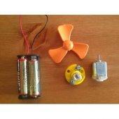 Elektrik Deney Seti Pil Yuvası Ampul Duy Motor Pervane 4 Pil