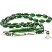 Gümüş Püsküllü Açık Yeşil Sıkma Kehribar