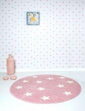Pembe Küçük Yıldızlı Yuvarlak Çocuk Odası Halısı