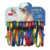 Eurocat Gökkuşağı Renkli Çıngıraklı Kedi Boyun Tasması 12li