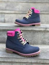 Lacivert Pembe Renk Bayan Bot Ayakkabı