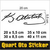 (2 Adet)atatürk İmza Sticker Araba, Oto, Araç Sticker