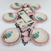 Keramika Pembe Turkuaz Gül 27 Parça 6 Kişilik Kahvaltı Takımı