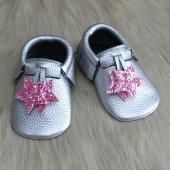 Yıldız Makosen Tabanlı Bebek Ayakkabı Gümüş Cv 460