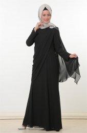 Nurla Apolet Aksesuarlı Abiye Elbise Siyah 1132 01