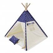 Oyun Çadırı %100 Pamuklu Kumaş Kızılderili Çadırı, Oyun Evi (Kod18yıldızlımavi)
