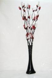 10 Dallı Beyaz Kırmızı Üzüm Çiçek 60 Cm Siyah Desenli Uzun Vazo