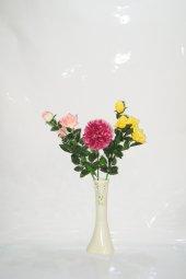 40 Cm Krem Rengi İşlemeli Vazo Ve Çiçekler