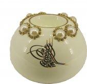 Osmanlı Tasarımlı İnci Taş İşlemeli Mumluk