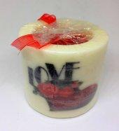 14 Şubat Sevgililer Günü Love Yazan Kalp Desenli Beyaz Mum