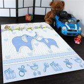 Sevimli Filler Desenli Mavi Çocuk Odası Halısı