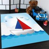 Gemi Ve Deniz Desenli Çocuk Odası Halısı
