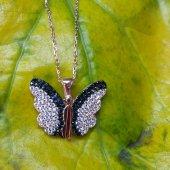 Siyah Taşlı Kelebek Kolye