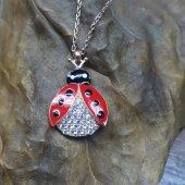 Kırmızı Uğur Böceği Modeli Beyaz Taşlı 925 Ayar Kolye