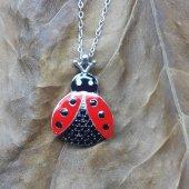 Kırmızı Uğur Böceği Modeli Siyah Taşlı 925 Ayar Kolye