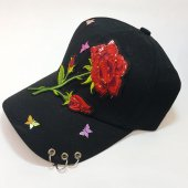Kırmızı Gül Ve Kelebekli Taşlı Taşsız Bayan Şapka...