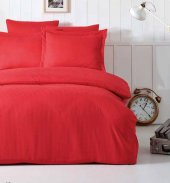 Soley Çift Kişilik Çizgili Saten Nevresim Takımı Elegante Kırmızı