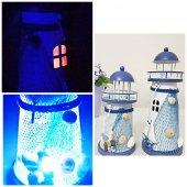 2&#039 Li Deniz Feneri Rengarenk Işıklı Metal Biblo