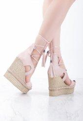 Lea Pudra Süet Bilekten Bağlamalı Dolgu Topuk Bayan Ayakkabı