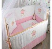 Bebekonfor Pembe Gri Yıldız Uyku Seti Ile Doğal Karyola Bebek Beşigi