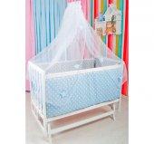 Bebekonfor Mavi Gri Yildiz Uyku Setli Beyaz Karyola Bebek Beşigi