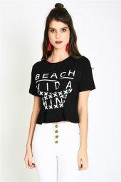 önü Şeritli Baskılı Siyah Kısa Kadın T Shirt