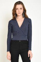 Kruvaze Lacivert Çizgili Kadın Bluz