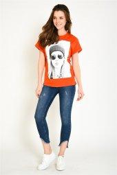 önü Baskılı İncili Turuncu Kadın T Shirt