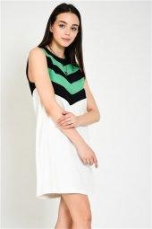 Ekru Yeşil Çizgili Kolsuz Elbise