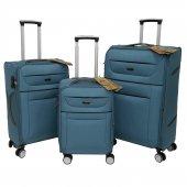 Fossil 3 Lü Valiz Seti Hafif Kumaş Bavul Mavi 1105