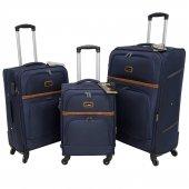 Nk 3 Lü Valiz Seti Hafif Kumaş Bavul Lacivert 037