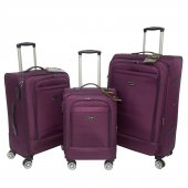 Nk 3 Lü Valiz Seti Hafif Kumaş Bavul Mor 021