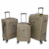 Nk 3 Lü Valiz Seti Hafif Kumaş Bavul Bronz 021