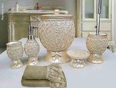 By Selim Home Majestic İnci 5 Parça Polyester Banyo Seti
