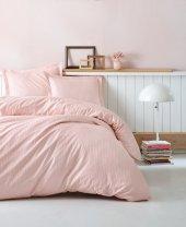 Cotton Box Çift Kişilik Saten Nevresim Takımı Elegante Stripe Pudra
